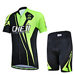 CHEJI Black-Green Cycling Bike Short Sleeve Clothing Set Bicycle Children Suit Jersey
