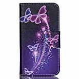 Cross Pattern Leather Card Holder Case for Wiko Lenny2 - Vivid Butterflies