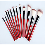 Professional 12 pcs Makeup Brush Set tools Make up Toiletry Kit Wool Brand Make Up Brush Set RED Crocodile Case