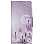 Cross Textured Leather Protective Stand Phone Case with Card Slot for Acer Liquid Z520 - Dandelion Pattern
