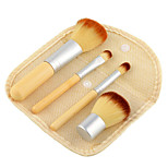 4pcs Natural Bamboo Handle Makeup Brushes Set with Mini linen bag