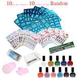 36Pcs /Set   Nail Art Image Printing Beauty Designs Women Tips  (Nail Plates + Nail Sticker Random)