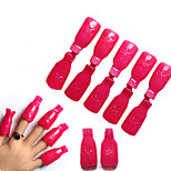 10 Pcs Rose Durable Reusable Plastic Nail Polish Remover Lacquer Tool Soak Off Wrap Nail Cleaner Nail Clip Cap