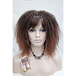 Afro Kinky Curly Off Black mix Red  Medium Length women's Synthetic Wig with Bangs Senegal Havana style 10062 T1B-350