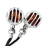 2X Silver Motorcycle Turn Signal Mini Bullet Blinker Amber Indicator Lights