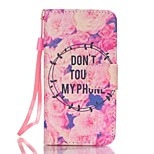 Rose and Don't Touch My Phone Pattern Magnetic Leather Stand Protective Case with Lanyard for iPhone SE / 5 / 5S