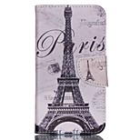 Cross Pattern Phone Leather Wallet Case for Wiko Lenny2 - Paris Eiffel Tower