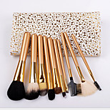 Portable High-Grade Gold 10Pcs Brush Set