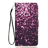 Purple Petals Pattern PU Leather Full Body Case with Stand for Wiko Rainbow Jam 4G