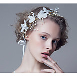 Women's White Flower Crystal Rhinestone Headband Forehead Hair Jewelry for Wedding Party