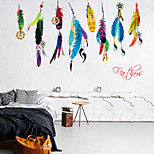 Colored Feather Bedroom Living Room Wall Stickers Background