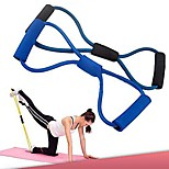 Training Resistance Bands Rope Tube Workout Exercise for Yoga 8 Type Fashion Body Fitness (Random Color)