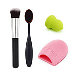 Makeup Toothbrush+Foundation Brush+Foundation Puff+Cleaning Egg