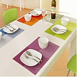 Samyo Rectangle Grid Pattern Design Washable PVC Placemat Kitchen Place Mat Eat
