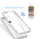 bolsa de aire a prueba de golpes caso de TPU transparente&soporte del anillo de múltiples funciones 2 en 1 para el iphone 6g más 5,5