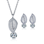 2016 Fashion Luxury Lovely Leaf Shape Zircon Jewelry Set For Women