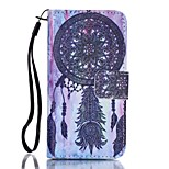 PU Wallet Leather Stand Case with Lanyard and Card Slots for iPhone SE / 5 / 5S -   Dream Catcher