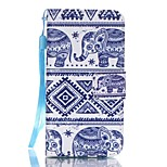 PU Wallet Leather Stand Case with Lanyard and Card Slots for iPhone SE / 5 / 5S - Tribal Style Elephant Pattern