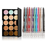 15 Colors Contour Face Cream Makeup Concealer Palette + 12 Pcs Colorful Eyeshadow Long-lasting Eyeliner