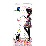 dpt® Scattered Flower Girl Pattern TPU Soft Back Cover for iPhone 5S/5