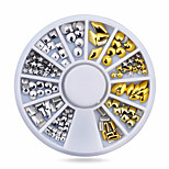 1wheel Gold Silver Studs 3d Metal Nail Art Decorations