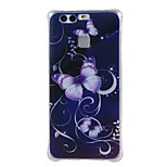 Purple Butterfly Shockproof as TPU soft shell cover Case for Huawei Ascend P9