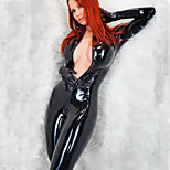 Women's Pvc Leather Wet Look Catsuit Jumpsuit With Gloves