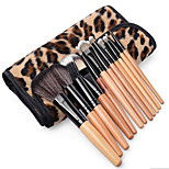 12 Pcs Professional Natural Wooden Handle Cosmetic Make Up Makeup Powder Brush Brushes Set Leopard Case
