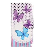 Purple Blue Butterfly Painted PU Phone Case for iphone5SE