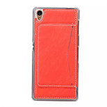 Fashion TPU Stent Phone Case For Sony Xperia Z4  Grained Leather Back Cover with Card Slot