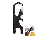 FURA Outdoor Multi-Function Carabiner Keychain with Bottle Opener / Twine Knife / Screwdrivers - Black