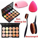 5in1 Concealer Makeup Set(2PCS 15 Colors Professional Natural Facial Concealer/Foundation Palettes+Brush+Brushegg+Puff)