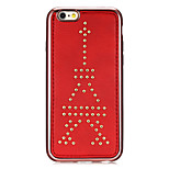 Rivet Leather Series Tower Pattern Red Plating Golden Round-Dots Soft TPU Case for iPhone6/6S
