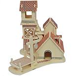 3d Puzzle de madeira sólida da casa da cabine modelo margem do rio