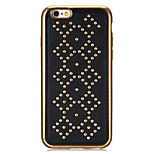 Rivet Leather Series Diamond Pattern Gold Plating Golden Round-Dots Soft TPU Case for iPhone6/6S