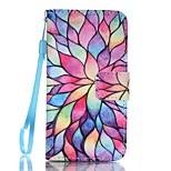 cartera de cuero de la PU caso del soporte con correa y las ranuras para tarjeta para el iPhone SE / 5 / 5s - encantador patrón de flores