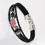 English National Flag Shape PU Men's Bracelet