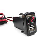 voiture 5v 2.1a port usb tableau de bord voltmètre chargeur de téléphone pour toyota vigo excellente