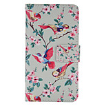 Bird Apricot Painted PU Phone Case for Huawei P8 Lite/P8