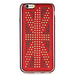 série couro rebite bandeira dos EUA padrão de revestimento dourado vermelho-redondas pontos TPU suave para iphone6 / 6s