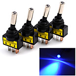 4Pcs 12V 20A Car Auto Red/Blue LED Light Toggle Rocker Switch 3Pin SPST ON/OFF Sales