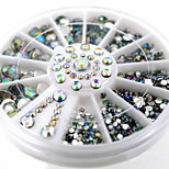 -Finger-Nail Schmuck-Acryl-1wheel White AB nail decorationsStück -6cm wheelcm