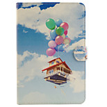 Balloon House Pattern Combo Bracket TPU and PU Leather Material Case for iPad Mini 4