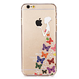 Butterfly Skirt girl Painted Pattern Hard Plastic Back Cove For iPhone6/6S 4.7