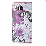Purple Flowers Magnetic PU Leather wallet Flip Stand Case cover for Huawei Honor 5X