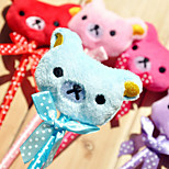 1PC Cute plush bowknot cartoon animal expressions The bear plush ball pen(Style random)