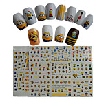 11pcs  New  Cartoon  Lovely  Small  Yellow Doll Minions  Water Transfer Nail Art Stickers STZ075-085