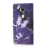 Purple Butterfly Magnetic PU Leather wallet Flip Stand Case cover for Huawei Honor 5X