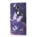 borboleta roxa magnética pu carteira de couro da aleta ficar tampa do caso para 5x Huawei honra