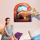 3D Giraffe Mirror Stickers Removable Wall Stickers